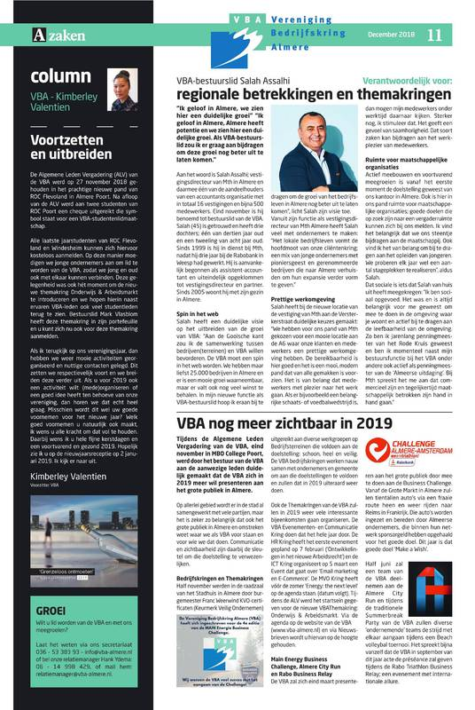 VBA Communicatie Pagina in AZaken 6 – 2018