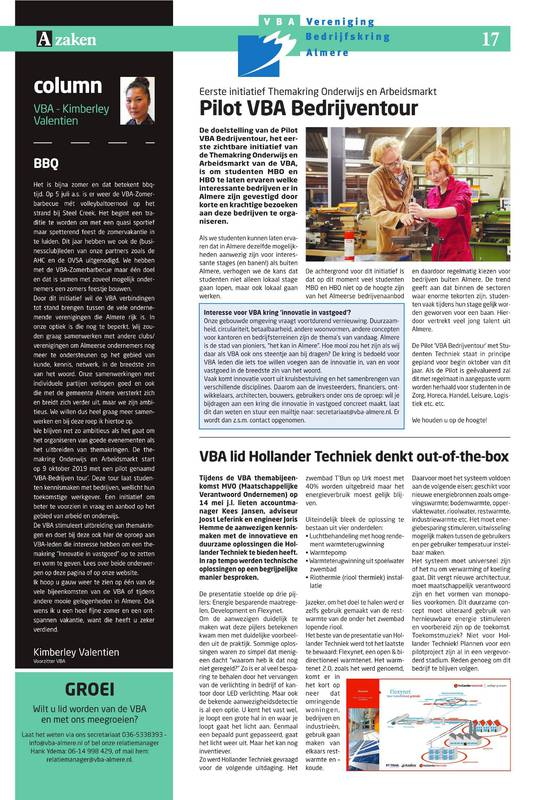 VBA Communicatie Pagina in AZaken 3 – 2019